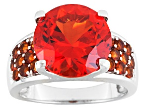 Orange Lab Created Russian Padparadscha Sapphire Sterling Silver Ring 7.22ctw.