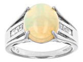 Honey Ethiopian Opal And White Zircon Sterling Silver Ring 2.40ctw.