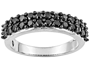 Black Spinel Sterling Silver Ring 1.14ctw.
