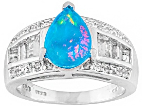 Blue Ethiopian Opal Sterling Silver Ring 2.17ctw.