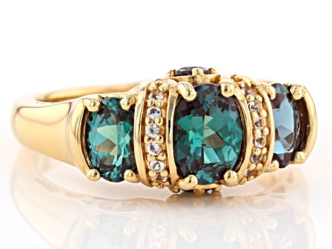 Blue Lab Created Alexandrite 18k Yellow Gold Over Sterling Silver Ring 1.47ctw
