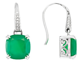Green Onyx Rhodium Over Sterling Silver Dangle Earrings 6.50ctw.