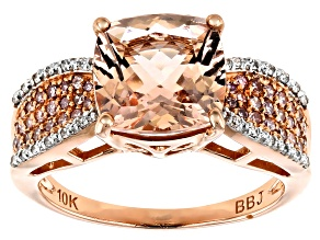 Womens Amazing Pink Morganite Pink Diamond White Diamond 3ctw 10k Rose Gold Ring