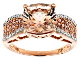 Pink Morganite, Pink And White Diamond 10k Rose Gold Ring 3.14ctw