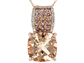 Womens Pendant Pink Morganite Pink White Diamond 3ctw 10k Rose Gold