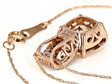Pink Morganite With Diamond 10k Rose Gold Pendant With Chain 3.01ctw