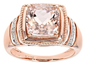 Cor-De-Rosa Morganite™ 4.05ct Cushion W/.10 Ctw Round Diamond 10kt Rg Gents Ring .