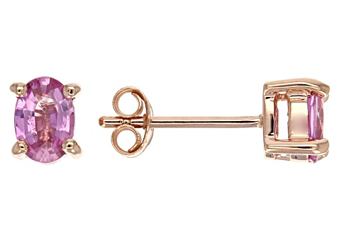 Pink Sapphire Solitaire 10k Rose Gold Stud Earrings .95ctw