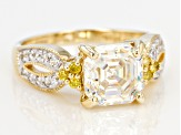 White Fabulite Strontium Titanate And Yellow Diamond With White Zircon 10k Yellow Gold Ring 3.51ctw