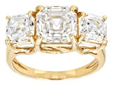 White Fabulite Strontium Titanate 10k Yellow Gold 3-Stone Ring 5.96ctw