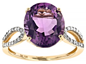 Purple Amethyst 10k Yellow Gold Ring 3.39ctw
