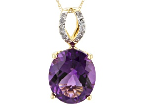 Purple Amethyst 10k Yellow Gold Pendant With Chain 3.57ctw