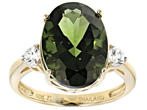 Green Moldavite 10k Yellow Gold Ring 4.01ctw