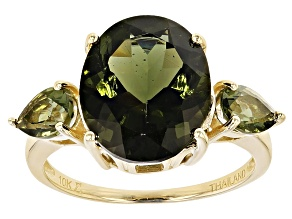 Green Moldavite 10k Yellow Gold Ring 3.4ctw