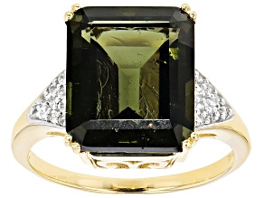 Green Moldavite And White Zircon 10k Yellow Gold Ring 4.41ctw
