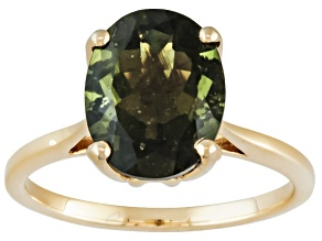 Green Moldavite 10k Yellow Gold Solitaire Ring 2.00ct