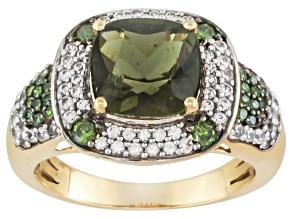Green Moldavite,White Zircon And Green Diamond 10k Yellow Gold Ring 2.28ctw