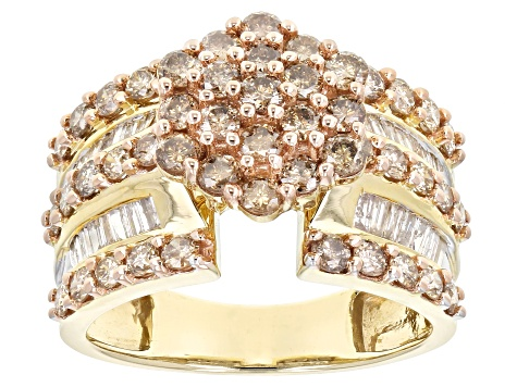 Champagne & White Diamond 10k Yellow Gold Cluster Ring 2.00ctw