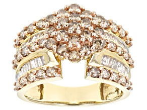 Champagne & White Diamond 2.00ctw Round & Baguette 10k Yellow Gold Ring