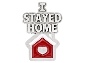 """I Stayed Home"" Silver Tone  Pin"