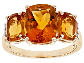 Orange Rectangular Cushion Madeira Citrine 10k Yellow Gold Ring 3.84ctw