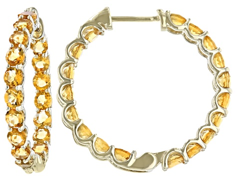 Golden Citrine 10k Yellow Gold Inside-Out Hoop Earrings 3.06ctw
