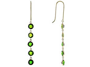 Green Russian Chrome Diopside 14k Yellow Gold Dangle Earrings 3.00ctw
