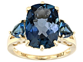 8.04ctw Cushion And Trillion London Blue Topaz 10k Yellow Gold Ring