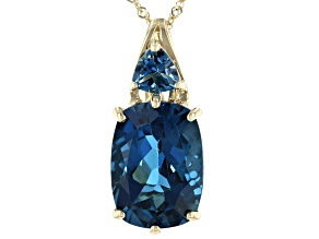 7.55ctw Cushion And Trillion London Blue Topaz 10k Yellow Gold Pendant With Chain