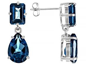 London Blue Topaz Rhodium Over 10k White Gold Earrings 6.04ctw