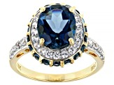 London Blue Topaz 10k Yellow Gold Ring 4.07ctw