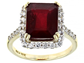 Red Mahaleo® Ruby 10k Yellow Gold Ring 6.10ctw