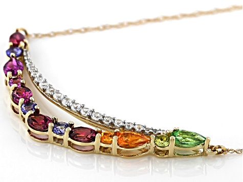 Mixed Multi-Gem 10k Yellow Gold Necklace 2.33ctw