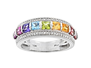 Mixed-Gemstone Rhodium Over 10k White Gold Ring 1.81ctw