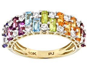 Multi Gemstone 10k Yellow Gold Ring 2.52ctw