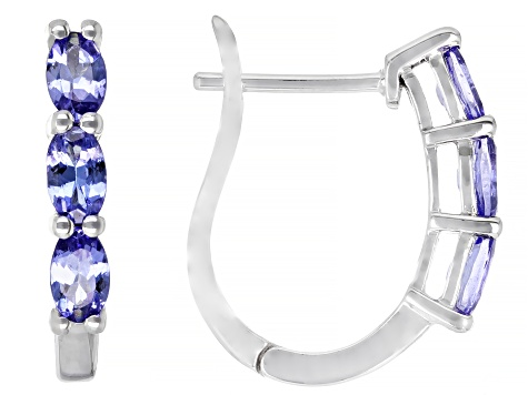 Blue Tanzanite Rhodium Over 10k White Gold Earrings 1.12ctw