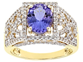 Blue Tanzanite 10k Yellow Gold Ring 2.01ctw