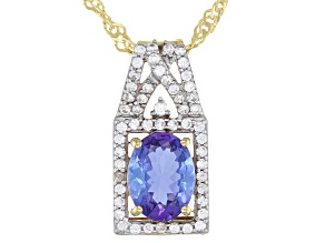 Blue Tanzanite 10k Yellow Gold Pendant With Chain 1.42ctw