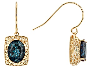 Lab Created Blue Alexandrite 10k Yellow Gold Filigree earrings 3.74ctw