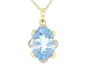 Blue Topaz 10k Yellow Gold Pendant With Chain10.94ctw
