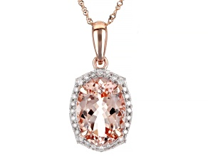 Pink Cor De Rosa Morganite 10k Rose Gold Pendant With Chain 5.22ctw