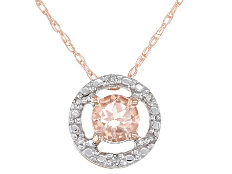 Pink Cor-de-Rosa Morganite™ Childs 10k Rose Gold Pendant With Chain 0.22ctw