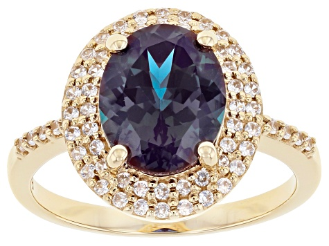 Blue Lab Created Alexandrite 10k Yellow Gold Ring 2.99ctw