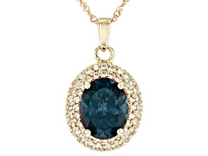 Blue Lab Created Alexandrite 10k Yellow Gold Pendant With Chain 2.94