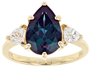 Blue  Lab Created Alexandrite 10k Yellow Gold Ring  3.59ctw