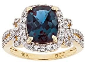 Blue Lab Created Alexandrite 10k Yellow Gold Ring  3.45ctw