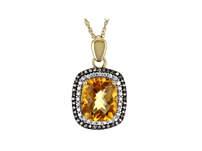 Golden Citrine, White Zircon, And Champagne Diamond 10k Yellow Gold Pendant With Chain 4.11ctw