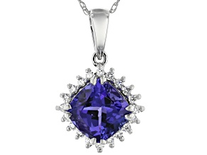 Blue Tanzanite Rhodium Over 10k White Gold Pendant With Chain 1.55ctw