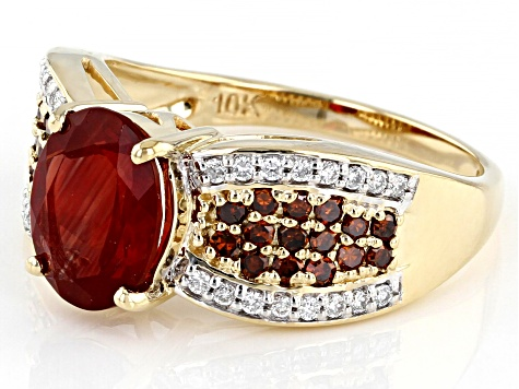 Red Labradorite 10k Yellow Gold Ring 1.78ctw