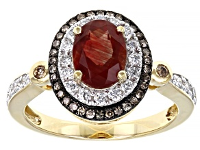 Red Labradorite 10k Yellow Gold Ring 1.40ctw